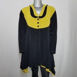 Vtg Song&Song Hooded Cardigan Lime Colorblock L/XL